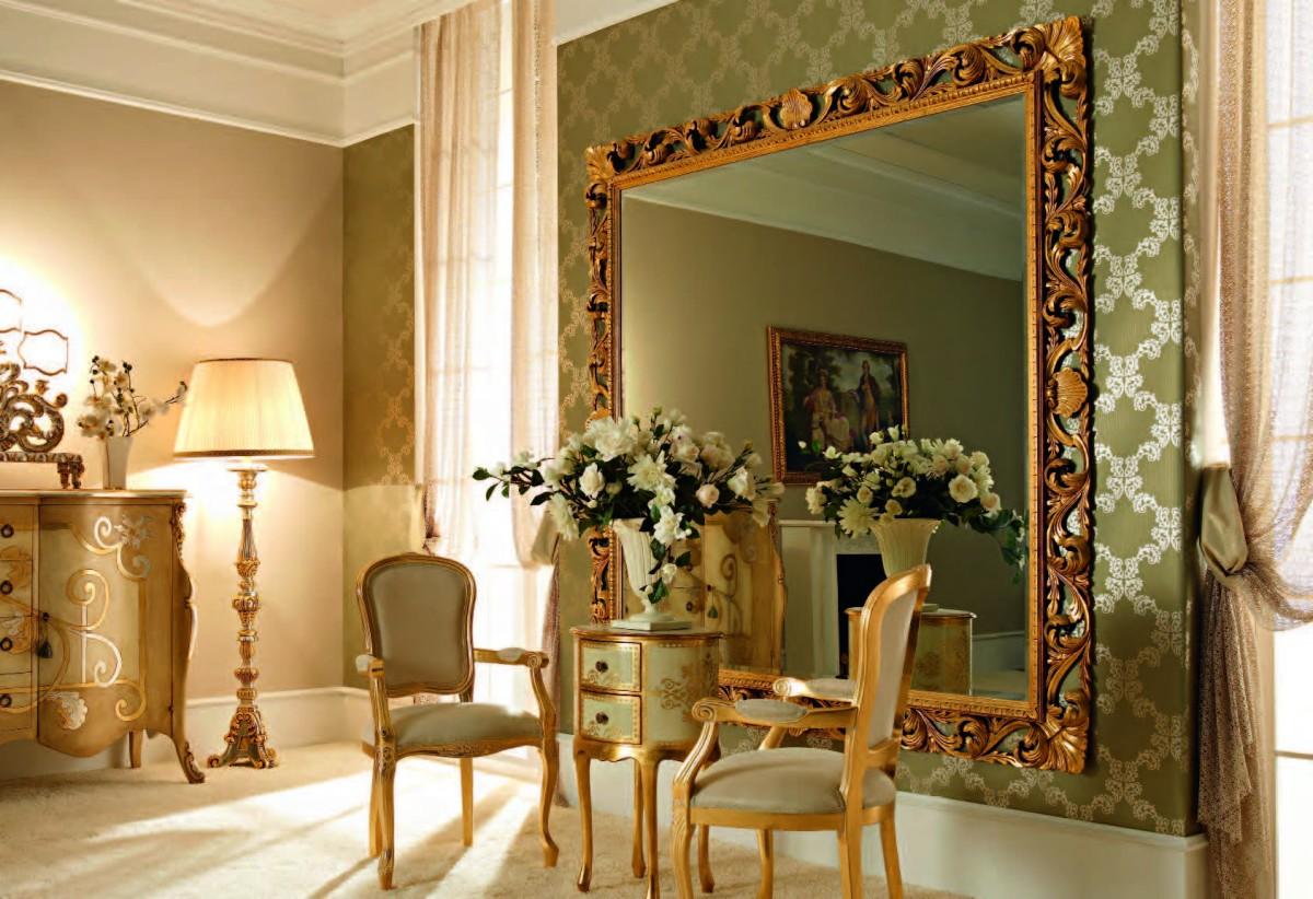 Зеркало в багете фото в интерьере
